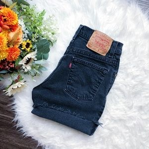 LEVI VINTAGE HIGHWAISTED BLACK DENIM SHORTS